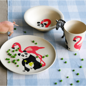 Geschirrset-Hungry-Kids-Zuperzozial-Flamingo-plastikfrei