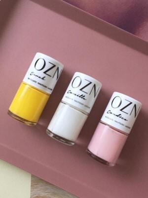 OZN - Naturkosmetik - Vegane Nagellacke in gelb, weiß und rosa